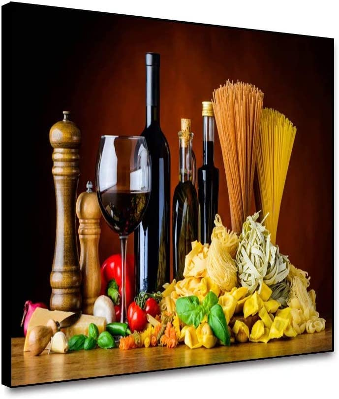 Canessioa Modern Canvas Wall Art Home Decorative Paintings 20x16inch Red Wine Foods Theme Giclee Print Still Life Wall Decoration Framed Ready to Hang for Living Room Bathroom Office Kitchen
