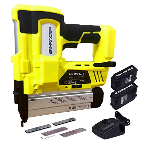 BHTOP Cordless Brad Nailer 18Ga Heavy Finish Nail Gun With 18Volt 2Ah Lithium-ion Rechargeable Battery in Yellow Charger and Carrying Case 2Batteries