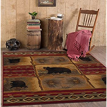 Universal Rugs Sierra Bear Novelty Lodge Pattern Red Rectangle Area Rug, ...