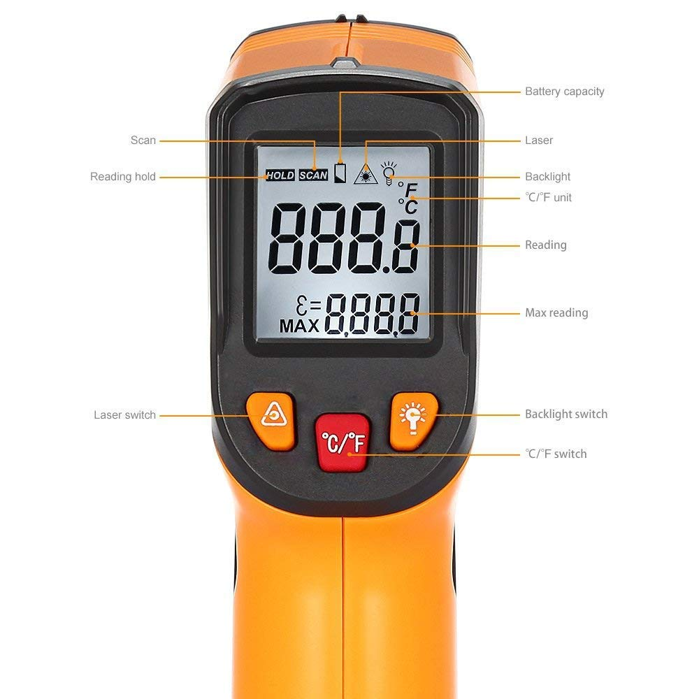 blue Infrared Thermometer 1.5 /× 5.71 /× 1.18 -50/°C ~ 380/°C High Temperature Temperature Measuring Device with LCD White Lighting Digital Laser Thermometer