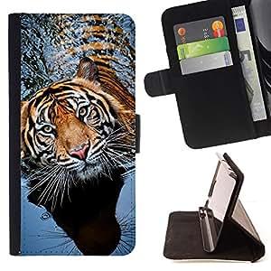 - tiger swimming nature animal tropical - - Prima caja de la PU billetera de cuero con ranuras para tarjetas, efectivo desmontable correa para l Funny HouseFOR LG G2 D800