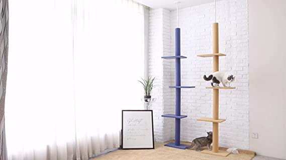 YGJT Árbol de Gato Gigante Gatito Animales Lindos Pisos de Techo 230-286 cm Ajustable de Madera Sólida Gato Mascota Juguete Diversión Herramientas: ...