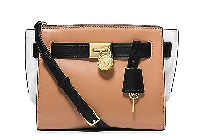 74251187975b Image Unavailable. Image not available for. Color: Michael Kors Hamilton  Traveler Color-block Messenger Handbag Purse Bag Tan / Black