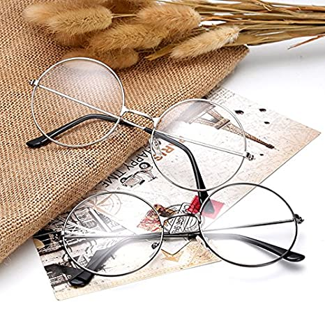 6b9d6767d1 Amazon.com  Tinksky Round Eyeglasses Clear Lens Glasses Ultra Light for  Santa Claus and Harry potter Cosplay  Clothing