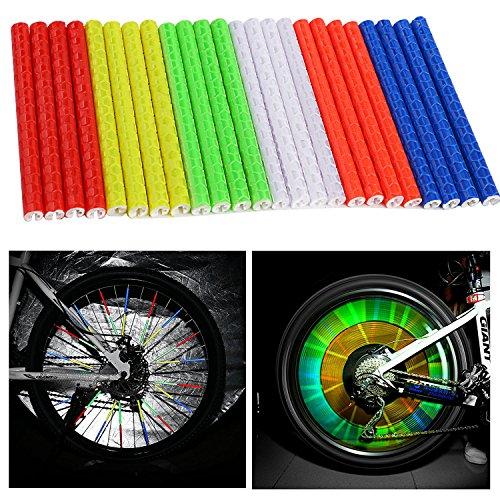 Oumers 6 sets/48pcs Cycling Wheel Spoke Reflector Clips, Reflective Mount Clip Tube Warning Strip Made with 3M Scotchlite Reflective Material (Blue Green Red Yellow Orange Silver) (Reflector Set)