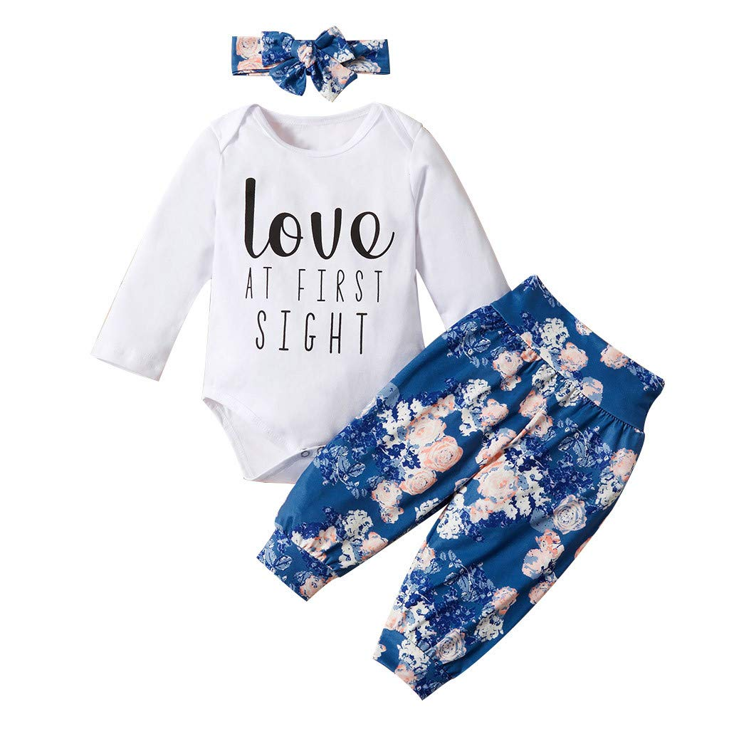 Goldweather Infant Baby Girls Boys Letter Print Ruffles Romper Bodysuit Floral Pants Hairband Outfits Sets White, 0-6 Months
