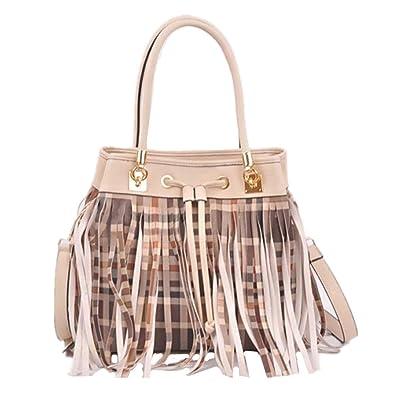 49fa9ee111bfb Checkered Stripes Print Fringe Drawstring Shoulder Bucket Bag ...