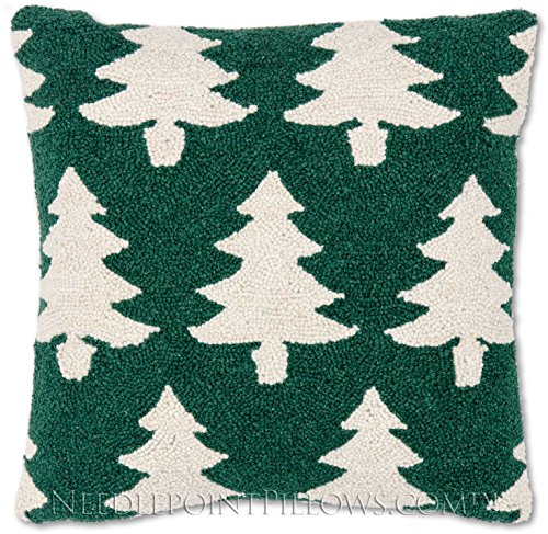 Limited Edition Handmade Designer Hooked Decorative Winter Snow Holiday Green Christmas Tree Ski Lodge Cabin Holiday Hooked Throw Pillow. 18