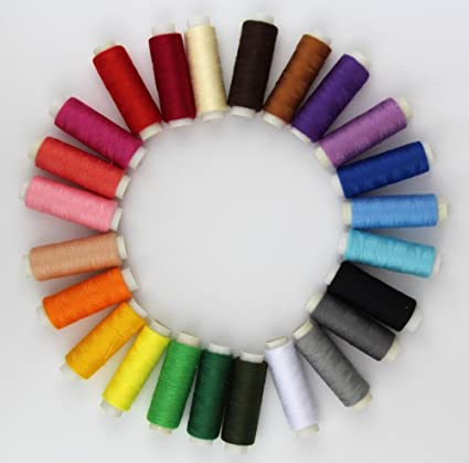 24 Colour Spools Finest Quality Sewing All Purpose 100/% Pure Cotton Thread Reel