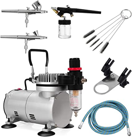Amazon.com: Goplus Kit de aerógrafo compresor de aire con ...