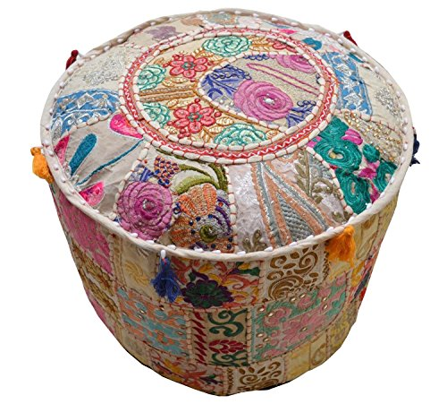Aakriti Gallery Indian Pouf Footstool Ethnic Embroidered Pouf Cover, Indian Cotton Round Pouffe Ottoman Pouf Cover Pillow Ethnic Decor Art - Cover Only (18x13inch) (Beige) by Aakriti Gallery (Image #1)