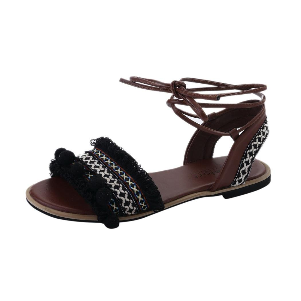 Femmes Bohême Sandales à Talon Plate Femmes Printemps été Tongs Femmes  Chaussures de Plage Ballerine Escarpin 9ceeea02725f