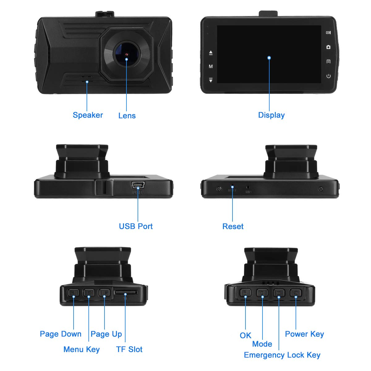 ULU Car Dash Cam 1080P Dash Board Camera 3.0 IPS Screen 170 Degree Wide Angle Car Recorder with WDR G-Sensor Motion Detection Loop Recording
