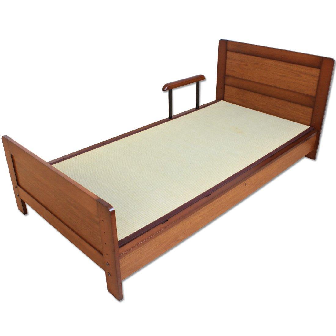 タンスのゲン 畳ベッド シングルベッド 手すり付き 介護ベッド い草 ブラウン 11519009BR B00AMW45I4