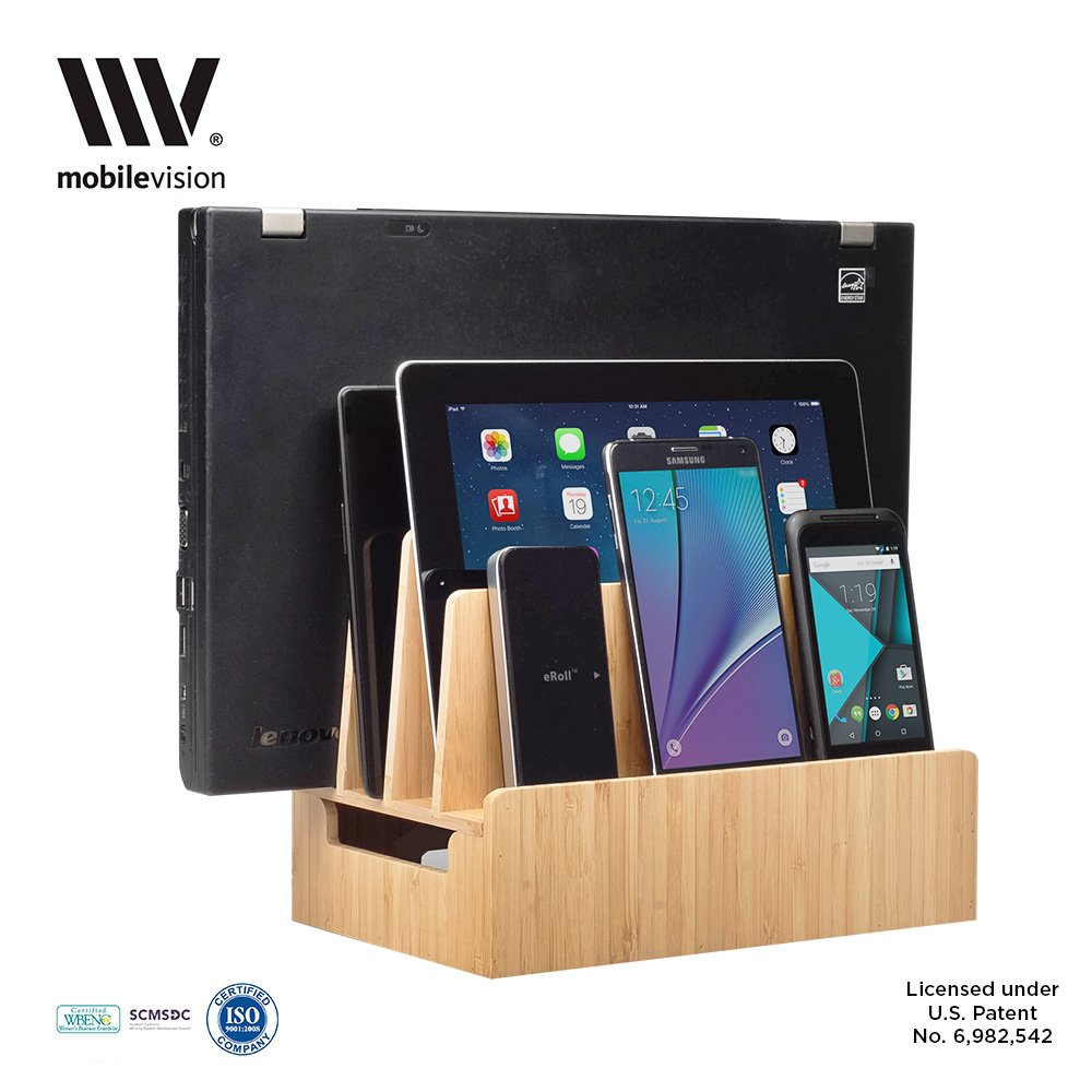 Amazon.com: MobileVision Bamboo Charging Station U0026 Multi Device Organizer  Slim Version For Smartphones, Tablets, And Laptops: Cell Phones U0026  Accessories