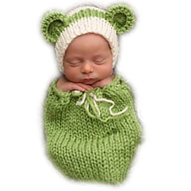 b0b41f733 Amazon.com: Auberllus Handmade Infant Newborn Baby Girl Boy Crochet Knit  Sleeping Bag Hat Photography Props Outfits Costume: Clothing