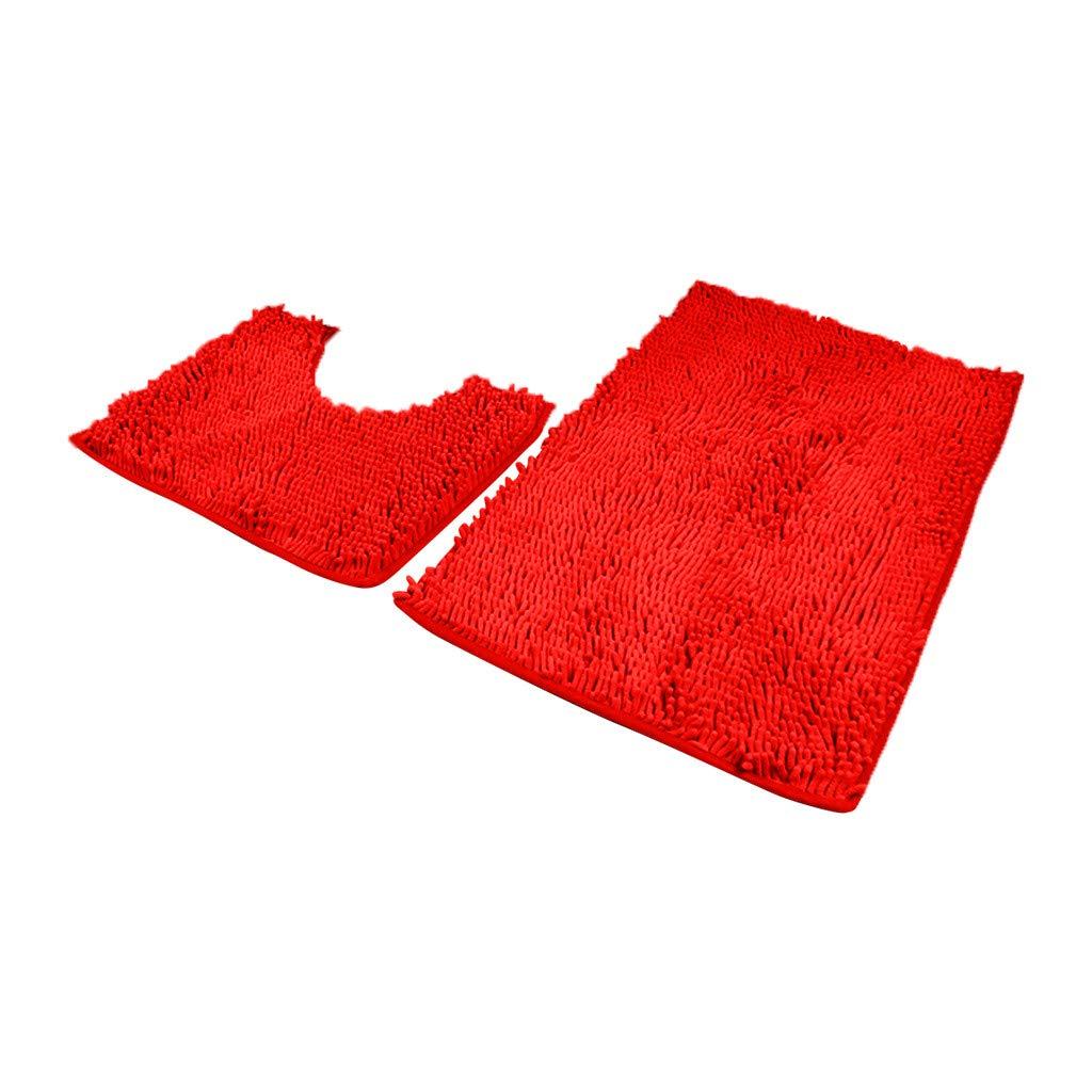 Evangelia.YM Chenille Bathroom Carpets U-Shape Toilet Mat 2Pcs Set Area Rugs Soft Plush Bathroom Shower Doorway Absorbent Non-Slip Floormats (Blue)