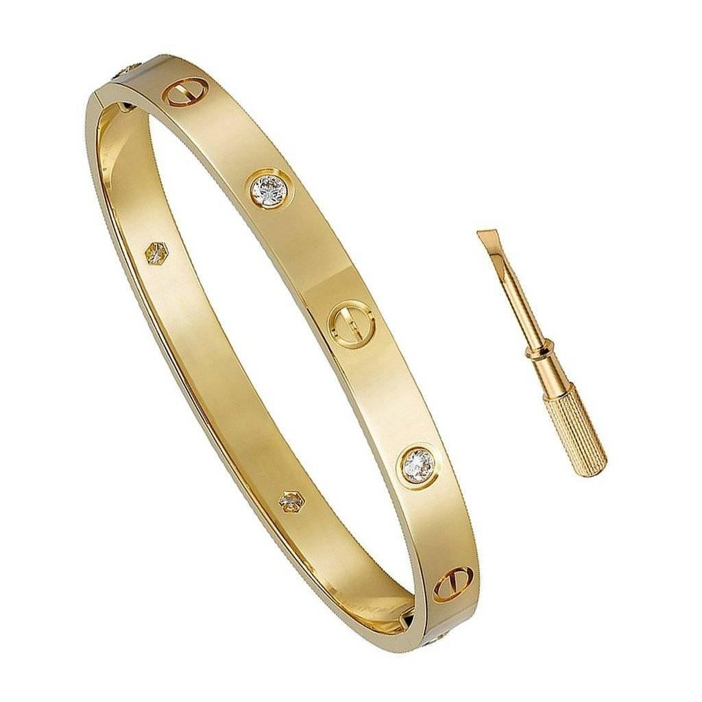 自由Loveギフト誕生日ギフトfor Her Love bracelet-チタン鋼ねじHinged CuffバングルブレスレットイエローゴールドW/Czストーン6.5 in B07DSX89N7