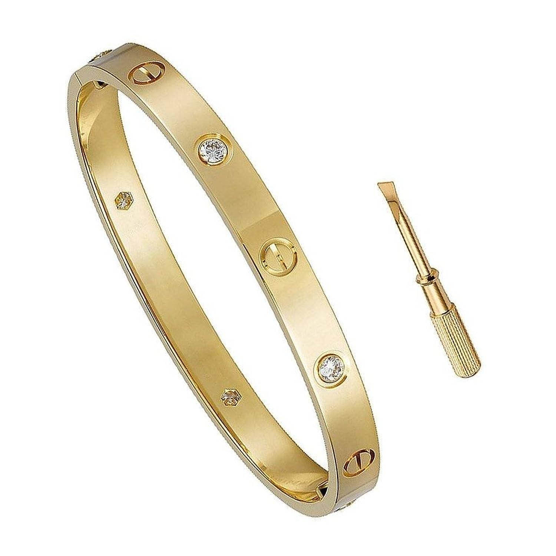 自由Loveギフト誕生日ギフトfor Her Love bracelet-チタン鋼ねじHinged CuffバングルブレスレットイエローゴールドW/Czストーン6.5 in B07DSW82Y5