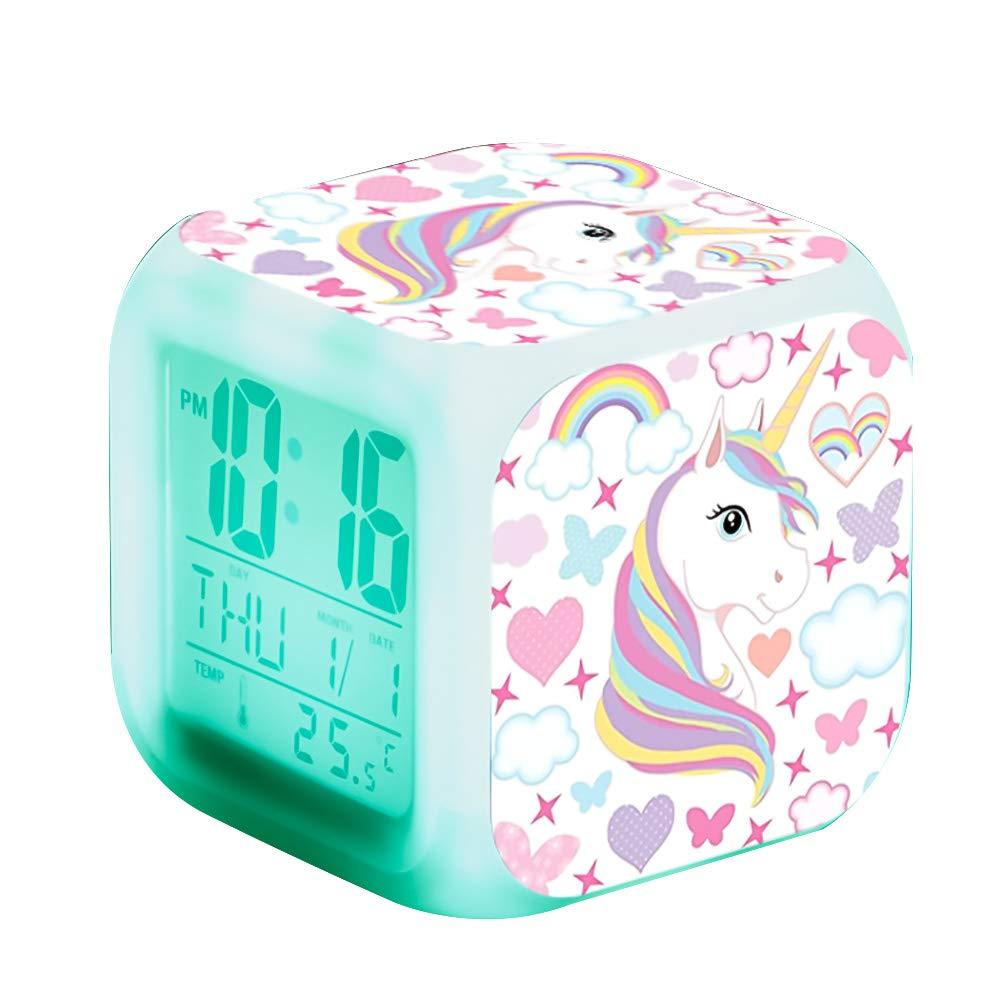 Reloj despertador de unicornios