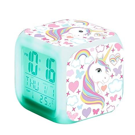 Unicornio Relojes de alarma digitales para niñas, LED de noche que brilla intensamente Reloj LCD con luz para niños Despertar Reloj de cabecera ...