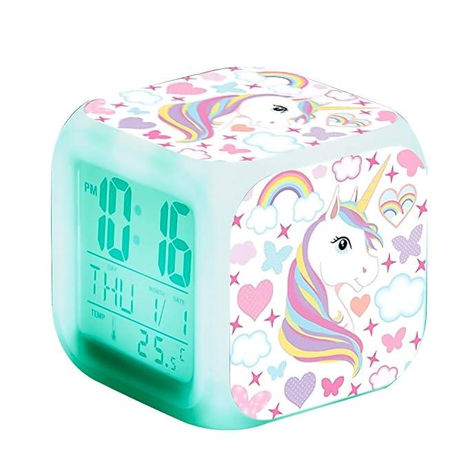 6 opinioni per Sveglie digitali Unicorn per ragazze, LED Night Cube incandescente Orologio LCD