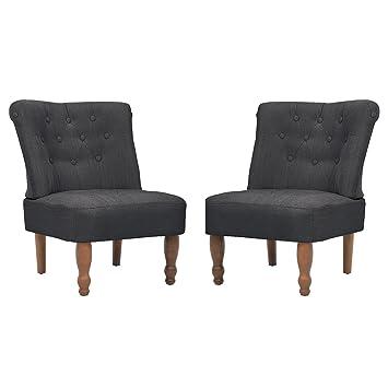 GroBartig VidaXL 2 Stück Paar Sessel Grau Gefasstenerbreiter Sessel Französischen Stil