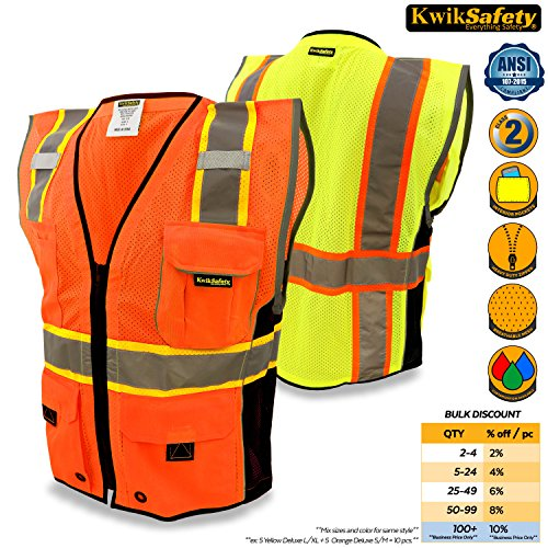 Breakaway Hi Vis Safety Vest (KwikSafety Orange Class 2 Executive Safari Safety Vest | Hi Vis Mesh, Heavy Duty Zipper & Multi Pocket | Men Women ANSI Certified High Visibility Construction Security Traffic Work Wear | 2XL/3XL)