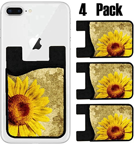 (MSD Phone Card holder, sleeve/wallet for iPhone Samsung Android and all smartphones with removable microfiber screen cleaner Silicone card Caddy(4 Pack) IMAGE ID: 14932304 3D Sunflower on vintage back)