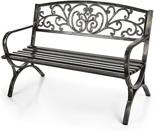 IKAYAA Patio Garden Bench Iron Park Yard Seating Chair Outdoor Furniture Antique Design
