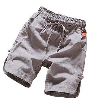 Runyue Hombre Chino Pantalón Corto Bermuda Pantalones con Cintura Elástica Cómodo Playa Pantalones Cortos Verde… 1D4zShuRDQ