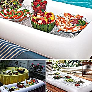 Novelty Place [LARGE SIZE] Inflatable Ice Serving Buffet Bar with Drain Plug – Salad Food & Drinks Tray for Party Picnic & Camping (Pack of 3)