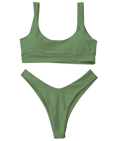 molto carino 3453a 06e59 ZAFUL Women's Two Piece Bikini Push Up Halter Swimsuit Solid Color Bathing  Suits