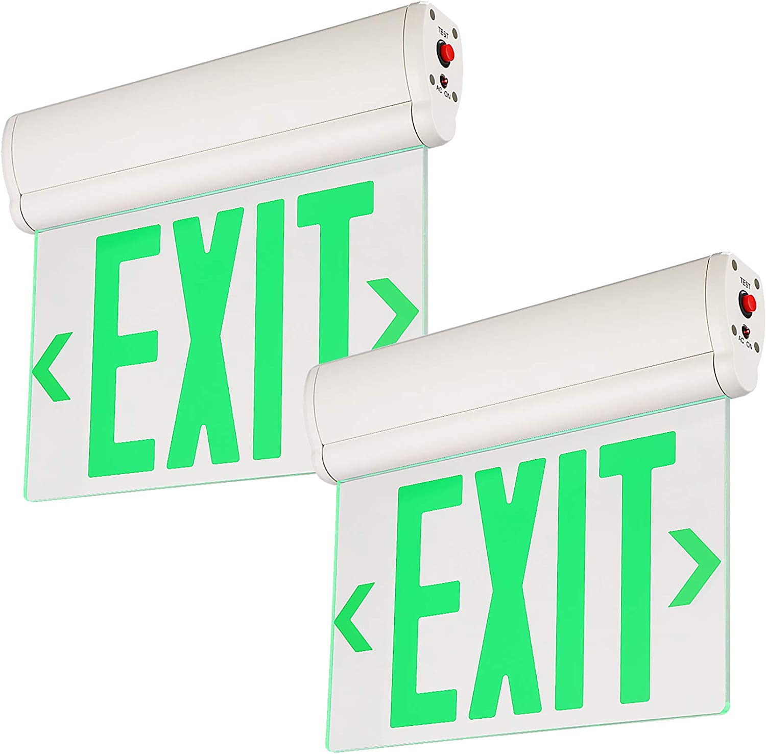 LEONLITE Green LED Edge Lit Sign, Exit Sign Light with Rotating Clear Panel, Ceiling/Left End/Wall Mount, Single Acrylic Face, UL Listed, AC120V/277V, Battery Backup Green Edge Light, Pack of 2