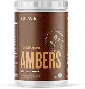 Life Wild Rainforest Ambers Nutritional Supplement | USDA Organic Plant-Based Powder Drink w/Real Mushrooms, Cacao & Chai | Superfood Mix Boosts Immunity, Energy, Brain & Heart | 360g Tub [30 Scoops]