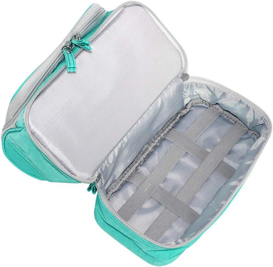 Subtop Bolsa de Aseo de Viaje Verde Bolsa de Cosm/éticos de Doble Capa Bolsa de Lavar Maquillaje Organizador de Viaje Neceser con Gancho para Hombres y Mujeres