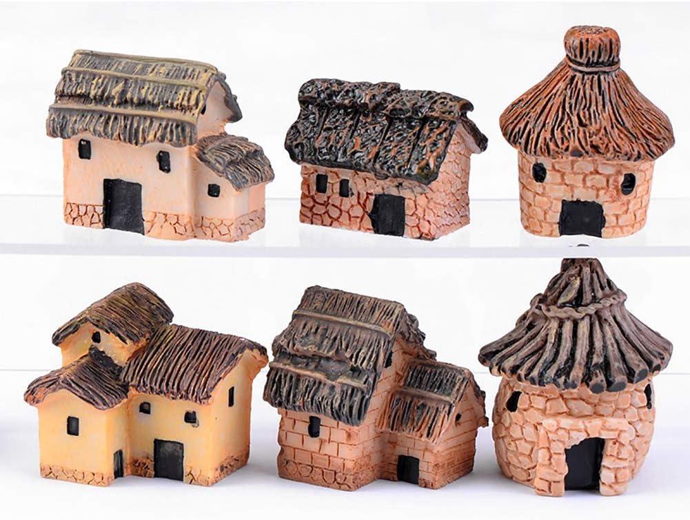 MAOMIA Miniature Fairy Garden House 6 Pcs Micro Landscape Garden Decoration Cottage House Yard Bonsai Decoration