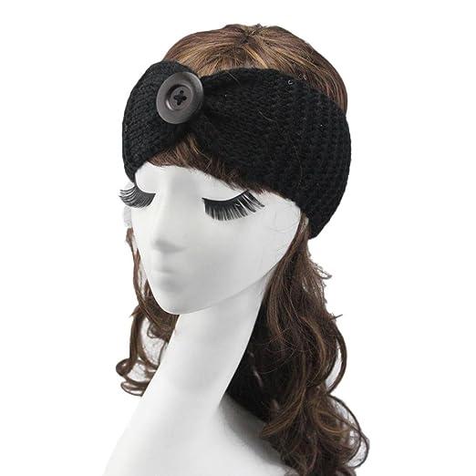 Womens Winter Button Knit Bow Hair Hoop Headband Warmer Hairband (Black) e19d1030a0