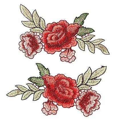 2 grandes parches termoadhesivos floral diseo rosas rojas y hojas verdes bordado para cazadoras camisetas - Fotos De Rosas Rojas Grandes