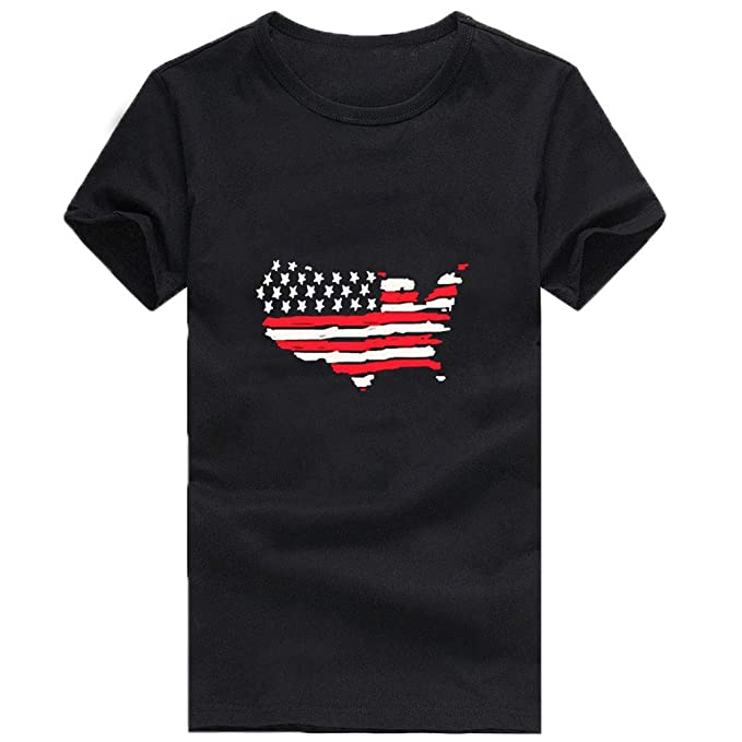 Amazon.com: refulgence 4th Retro Style Patriotic American Flag T-Shirt Vintage Short Sleeve O-Neck Womens Tee Shirts: Clothing