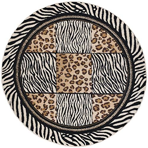 Wild Animal Print Circular Rug, Exotic Safari Animals Zebra Leopard Prints 5ft Round Area Rug, Modern Indoor Circle Floor Mat Black White Stripes Border