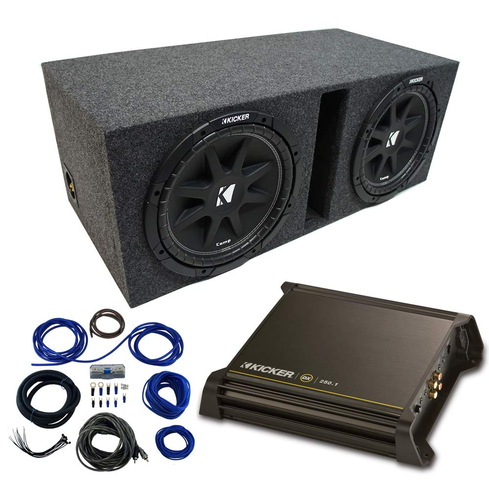 Dual 10'' Kicker CompC Sub Package wth Kicker 11DX250.1 Refurbished Amp & Vented Enclosure
