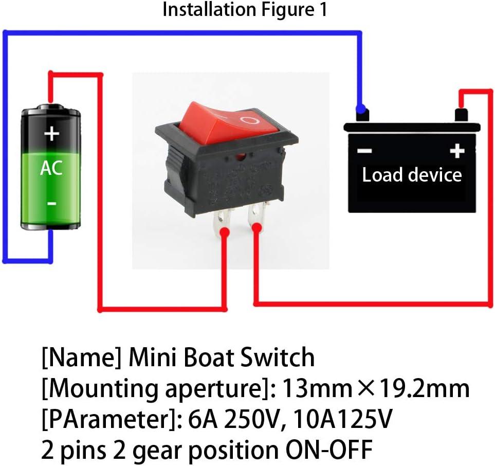 2 Pin AC 6A -10A,125V -250V f/ür Auto Boot Haushaltsger/äte Schwarz 10 P Rot 10 P CESFONJER 20 Pcs Mini Wippschalter ON//Off Kippschalter