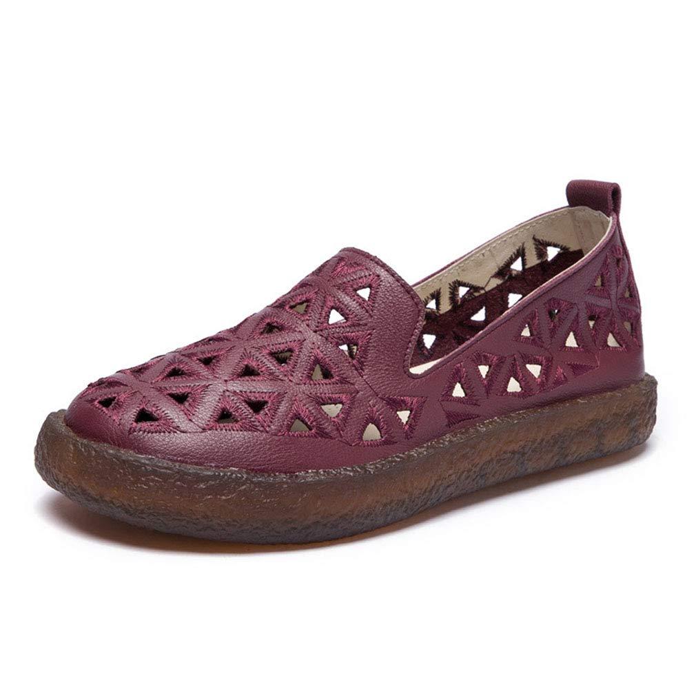 YAN Frauen Casual schuhe Spring Fall Low-Top Schuhe Loafers & Slip-Ons Leder Walking schuhe Driving schuhe,rot,39