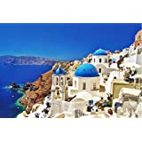 Jigsaw Puzzles 1000 Pieces Puzzles for Adults Dreamy Aegean Sea Greece Santorini Landscape Puzzle 30 x 20 inch for Family Wall Decoration Gift
