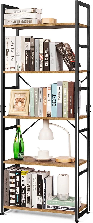 5 Tier Bookshelf Tall Wood Bookcase Rustic Storage Shelves Organizer Modern Vintage Standing Shelving Unit for Bedroom, Office, Living Room, 63 inch