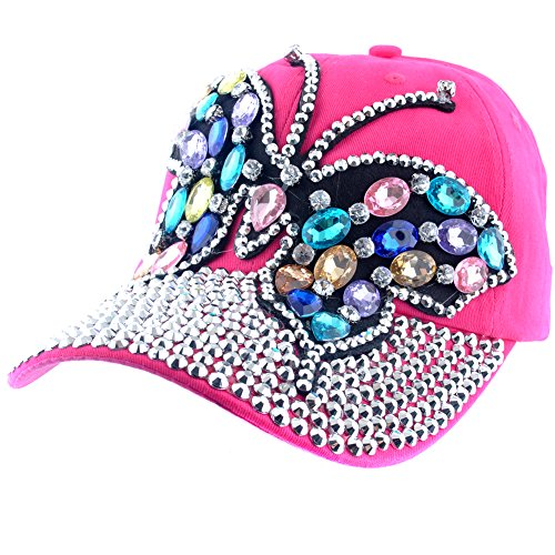 Elonmo Cute Big Butterfly Baseball Cap Jewel Rhinestone Bling Hats Jeans Wash Denim (Hot Pink)