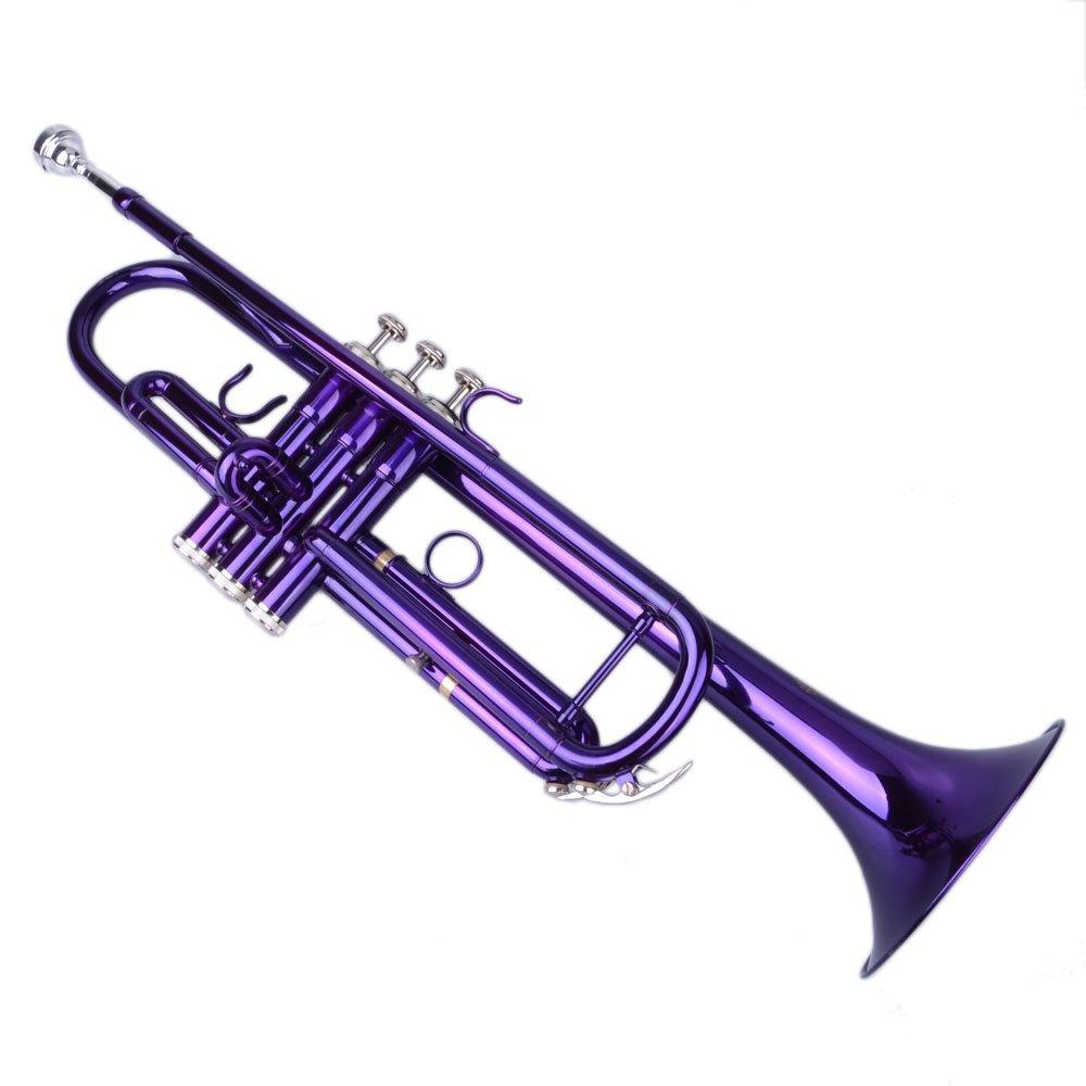 Beginner Trumpet Bb B Flat Brass Gold with Gloves Accessories Kit, Mouthpiece, Case (Purple)
