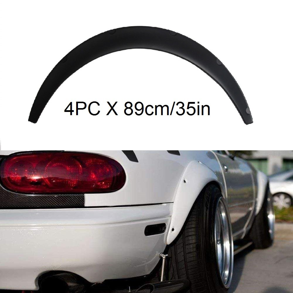 4X 35 Universal Car Exterior Fender Flares Flexible Extra Wide Body Wheel Arches yjracing