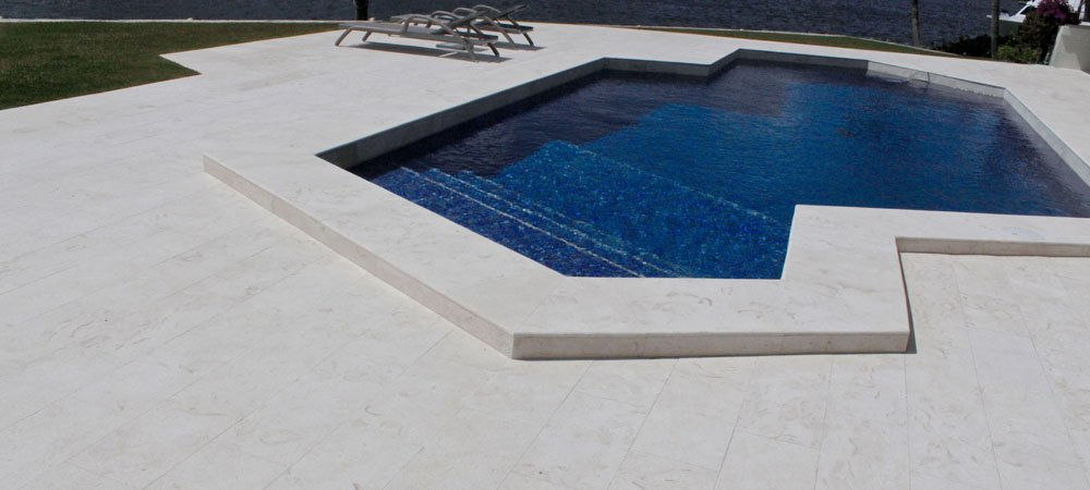 200 SQ.FT. Limestone Tile Versailles Pattern (Aqua Shell) Pool & Patio, Backyard... Brushed and Chiseled Natural Stone for Outdoors & Indoors by Stone Zone